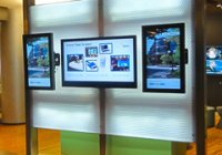 display wall with three digital signes