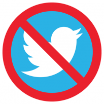 "Twitter bird logo with red ""prohibited"" symbol"