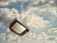 Old Television Falling Down From Sky