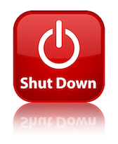 Shut down glossy red reflected square button