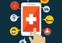 Illustration of a smart phone with health related icons surrounding it. A hand touches the screen.