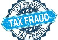tax fraud blue round grunge stamp on white