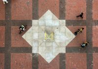 U-M Diag, overhead looking down on Block M