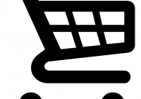 black and white graphic of shopping cart.