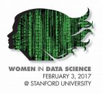 Women in Data Science. February 3, 2017 @ Stanford University. Profile of women made up of green data screen.