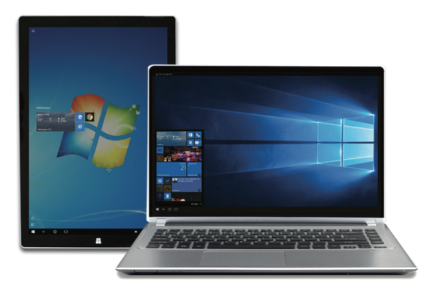 Tablet and laptop show Windows 10 logo.