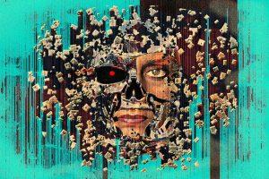 illustration of half-human half-robot head