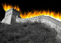 BW image of the Great Wall of China in flames.