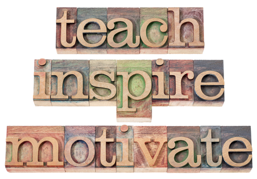 teach, inspire, motivate - a collage of isolated words in vintage letterpress wood type