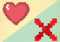 """""""Pixelated"""" illustration with heart and large X."""