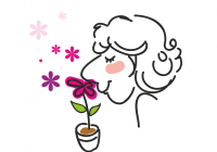 Cartoon illustration of woman smelling flowers.