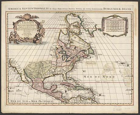 Photo of old map from 1700 showing North America.