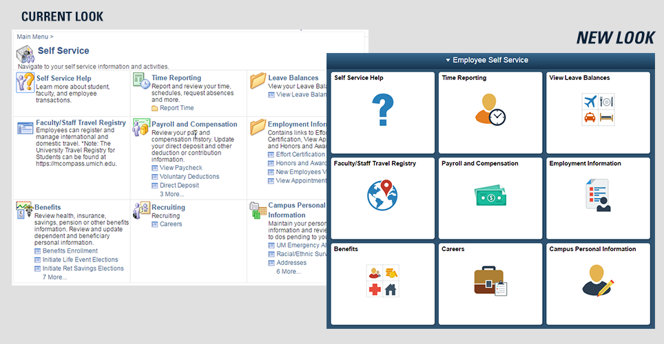 Before and after images of Employee Business interfaces in Wolverine Access.