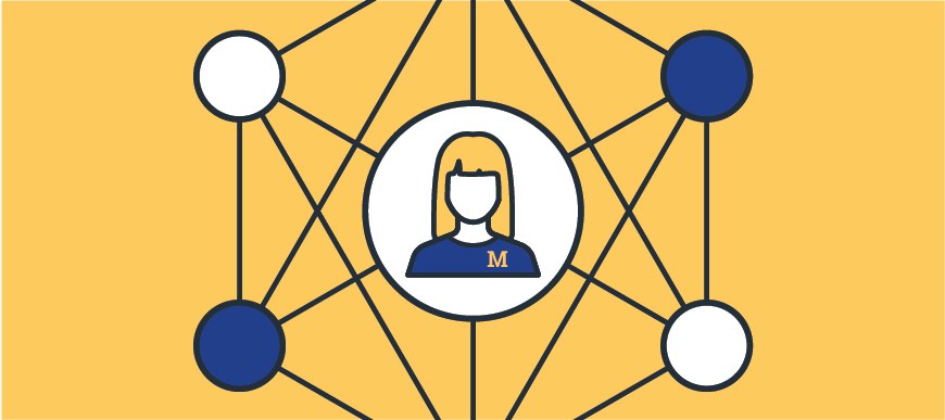 Illustration of a woman in a U-M shirt connected by many nodes in a web