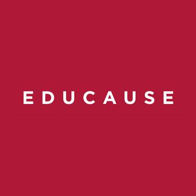 Educause logo, white text on red BG