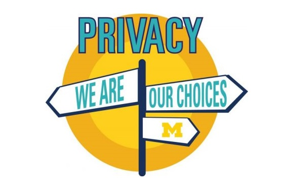 Illustration of signpost on yellow and orange circle background. Headlint: Privacy. 3 arrow signs: We are--our choices--Block M logo.
