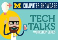 "Illustration of bearded man with glasses holding a smartphone, with a lightbulb above his head. ""Computer Showcase. Tech Talks. Workshop Series."""