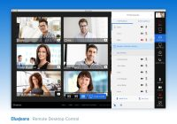 A screenshot of the BlueJeans app interface with multiple remote participants interacting in a videoconference