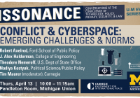 Graphic with information about Dissonance: Conflict & Cyberspace event
