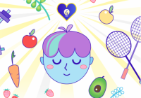 Illustration of smiling face surrounded by images of fruits, vegetables, sporting equipment