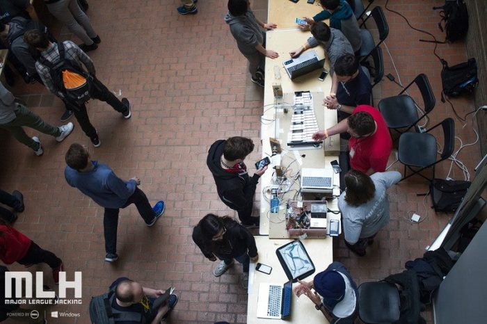 View from above of students at project display tables.