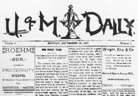 "Front page of the first issue of the of the ""U of M Daily,"" September 29, 1890."