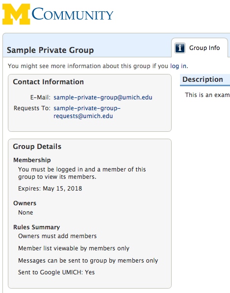 new private group interface in MCommunity