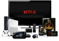 Netflix logo on TV surrounded by multiple devices