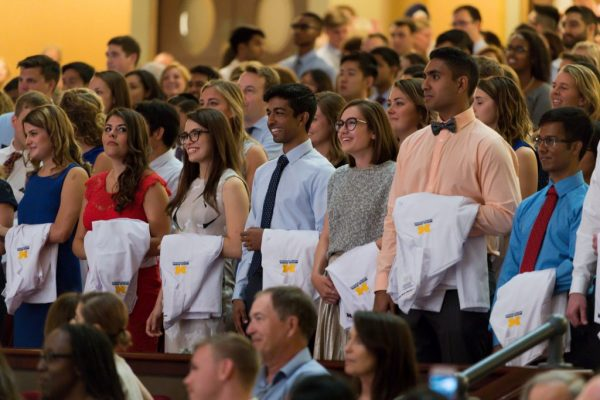 Group of students at Med School white coat ceremony