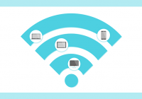 WiFi graphic with device icons