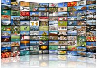 a variety of images as a big video wall of the tv screen