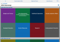 Colorful tiles are pictured in a graphical user interface for the new LSA Gateway website
