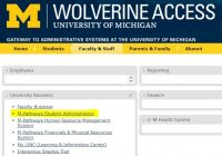 wolverine access screenshot with student admin option highlighted