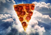 slice of pizza, cloud bg