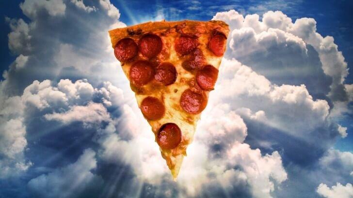 slice of pizza, cloud bg