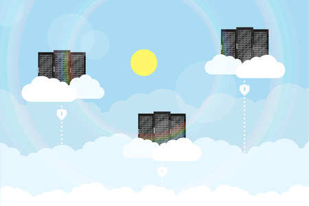 An illustration of servers in clouds