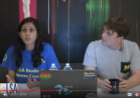 "Students Khyati Somayaji and Nicholas Fadanelli participate in a Digital Wolverines ""Ask Me Anything"" session"
