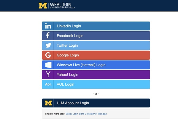 U-M social login interface