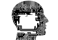 profile of human head made up of computer cirucuits