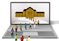 illustration of tiny people walking across keyboard toward image of college on laptop screen.