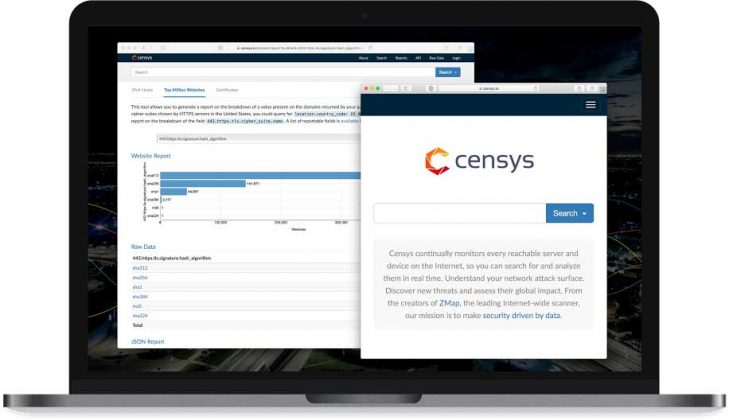 screenshot of Censys interface
