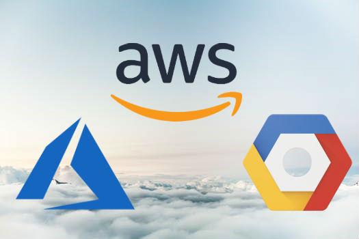 azure, aws & gcp logos over cloud bf