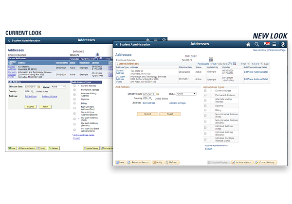side-by-side comparsion of old and new M-Pathways UI