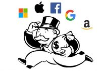 Monopoly rich man character holding money bags surrounded by tech logos