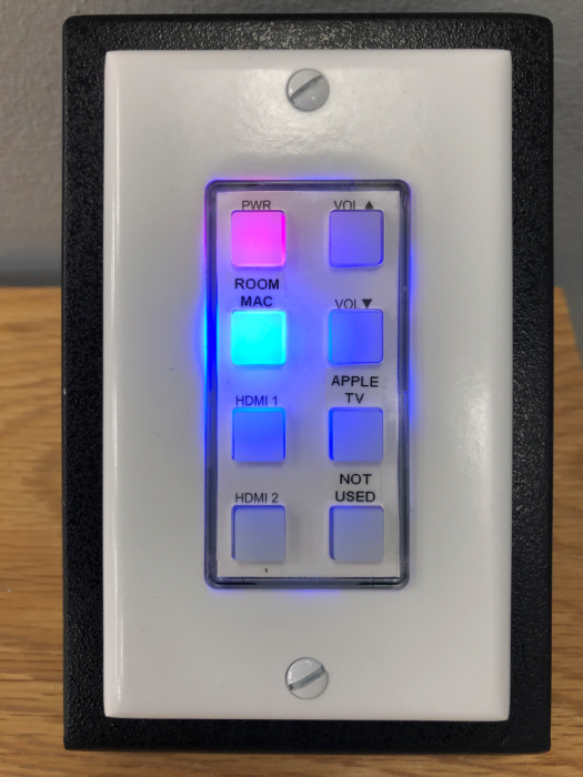 The 8-button AV controller in the Hatcher 808 conference room