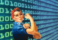 Rosie the Riveter over a digital BG