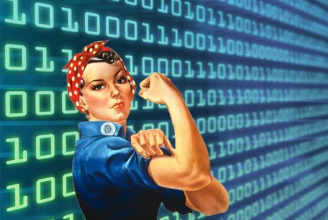 Rosie the Riveter over a digital BG