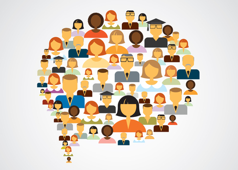 speech bubble made up of group of diverse people