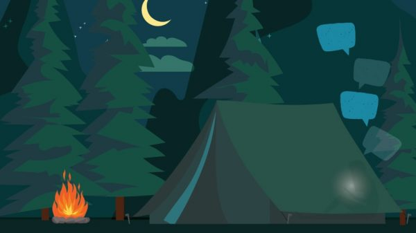 night scene in forest with tent and campfire