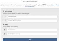 screenshot of account recovery page